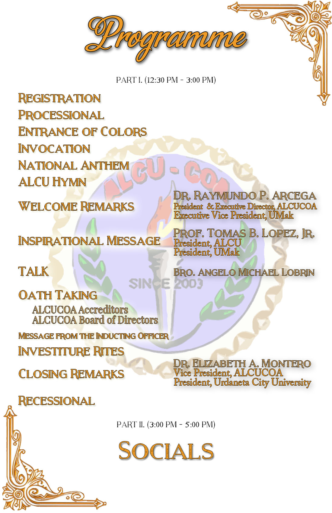Association of local colleges and universities commission on oath taking and investiture ceremony alcucoa defining the school of tomorrow stopboris Images